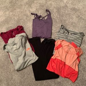 Bundle of five gym tops and one pair of leggings